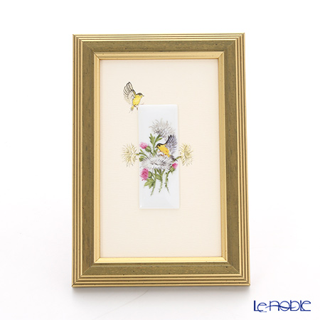 ヘレンド MID-1 08191-0-00 陶板(花と鳥) 6.5×2.5cm