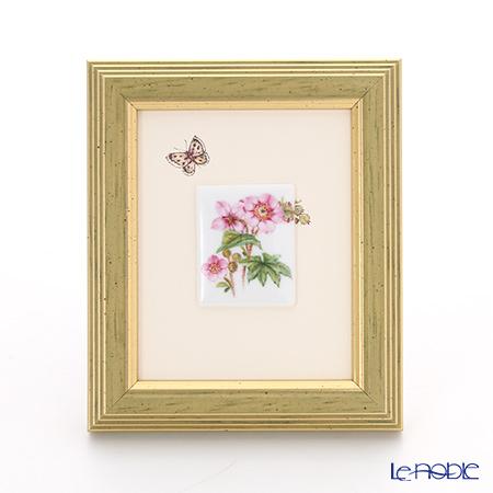 ヘレンド MID-5 08193-0-00 陶板(花と蝶) 4.5×3.5cm