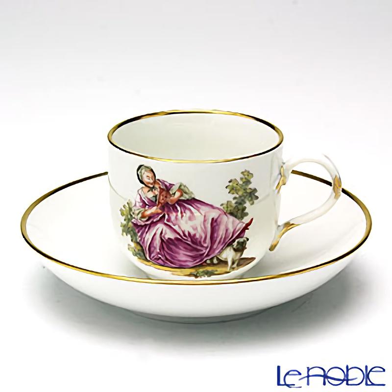 マイセン(Meissen) リミテッドエディション 290885/10580 コーヒーカップ&ソーサー(パグと貴婦人)