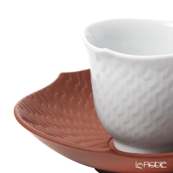Meissen 'Waves Relief' White Japanese Tea Cup & Stoneware Saucer