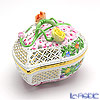 Herend 'Multicolor Flower' C 06200-0-02 Openwork Heart Box (Twig Roses knob) H5cm