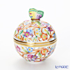 Herend 'Multicolor Flower' C2 06214-0-17 Openwork Ball Box (Butterfly knob) 9xH11cm