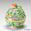 Herend 'Green & Multicolor Flower' C 06215-0-11 Openwork Ball Box (Strawberry knob) 7cm
