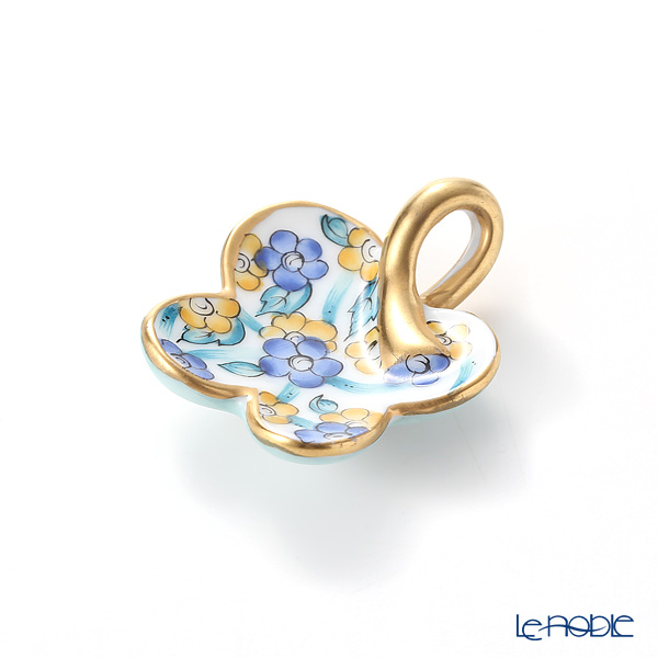 ヘレンド ペンダントトップ C1 08176-0-03 フラワー ブルー 4×3.5cm