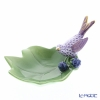 Herend Purple Fish scale / Vieux Herend VHLMM 05461-0-00 Leaf Dish with Figurine 'Humming Bird on Leaf' 14x9.7cm