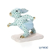Herend 'Green Fish scale / Vieux Herend' VHV 05710-0-00 Figurine - Running Bunny H7cm