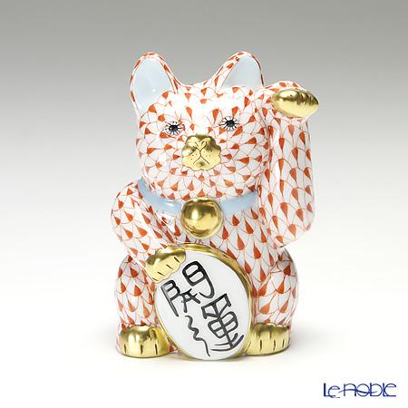 ヘレンド人形 15580 VH 招き猫 開運 大 レッド