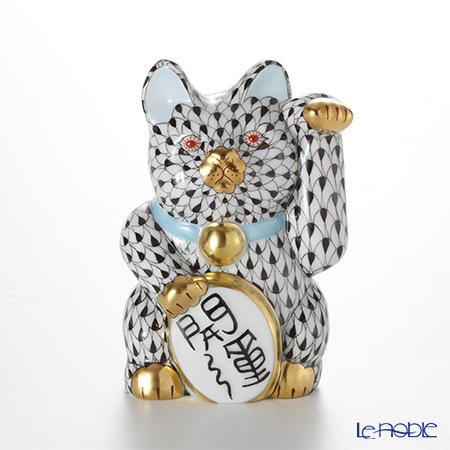 ヘレンド人形 15580 VH 招き猫 開運 大 ブラック