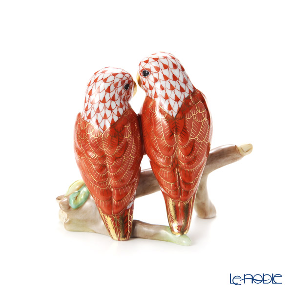 Herend 'Red Fish scale / Vieux Herend' VHM+C 15728-0-00 Figurine - Love Birds on Branch H10cm