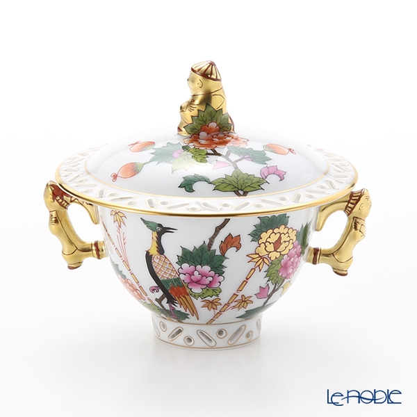 Herend 'Oriental Bird' GRUE 03355-0-21 Covered Sugar Pot (Mandarin handle & knob / openwork) 100ml