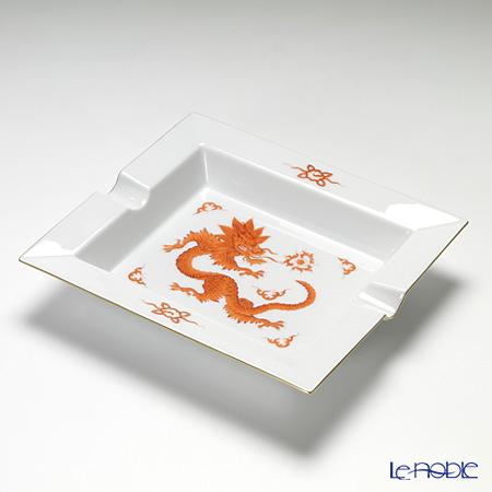 Meissen Ming dragon red 330510 / 53n76 Ash tray 21 cm gold rim