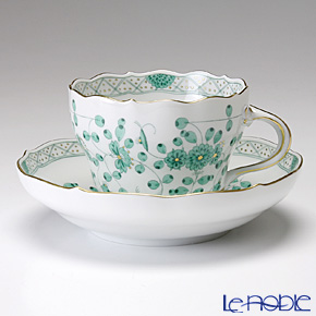 マイセン(Meissen) インドの華 グリーン 343310/00582 コーヒーカップ&ソーサー 200cc