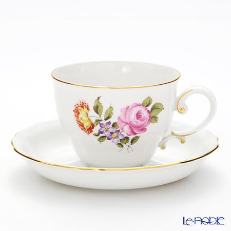 アウガルテン(AUGARTEN) シンプルブーケ(5052C) ピンクのバラ コーヒーカップ&ソーサー 0.2L(062モーツアルトシェイプ)