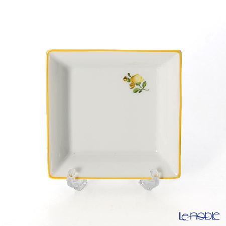 Augarten 'Petit Fleur / Small Flower' Yellow Square Dish 8x8cm