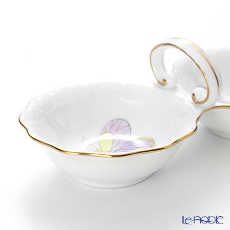 Herend 'Royal Garden Green & Purple / Email Victoria' EVICT1 00253-00-0 Twin Salt 15cm