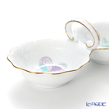 Herend 'Royal Garden Turquoise Blue & Purple / Email Victoria' EVICT2 00253-00-0 Twin Salt 15cm