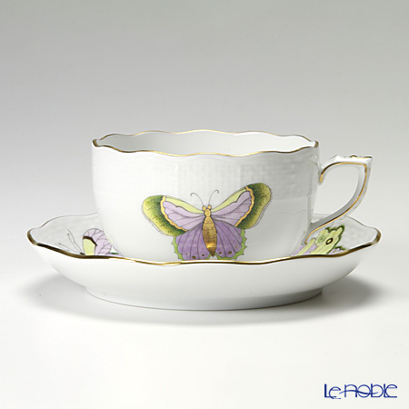 Herend 'Royal Garden Butterfly Green & Purple / Email Victoria Papillon' EVICTP1 00724-0-00 Tea Cup & Saucer 200ml