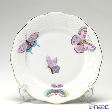 Herend 'Royal Garden Butterfly Turquoise Blue & Purple / Email Victoria Papillon' EVICTP2 00517-0-00 Dessert Plate 19cm