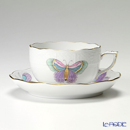 Herend Play of colours / Royal Garden cool papillon Teacup with saucer 200 ml, EVICTP2 00724-0-00