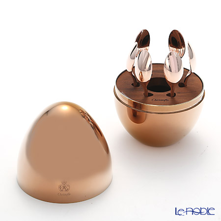 Christofle 'Mood - Precious' 365636 [Pink Gold Gilded] Demitasse Coffee Spoon (set of 6 with Egg Case)