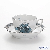 Herend 'Chinese Bouquet Turquoise Platinum / Apponyi' ATQ3-PT 00711-0-00 Mocha Coffee Cup & Saucer 100ml