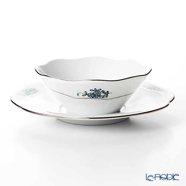 Herend 'Chinese Bouquet Turquoise Blue Platinum / Apponyi' ATQ3-PT 00903/902 Small Bowl & Saucer