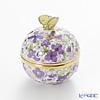 Herend 'Purple Flower' FIC4 06219-0-17 Openwork Ball Box (Butterfly knob) H5.7cm