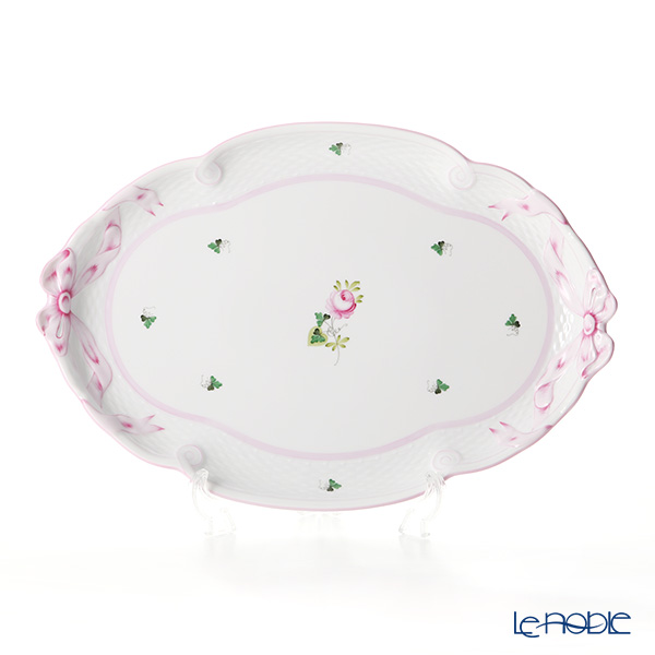 Herend 'Vienna Rose Pink / Vieille Rose de Herend' VRH-X4 00400-0-00 Oval Tray (Ribbon) 40.5x28.5cm