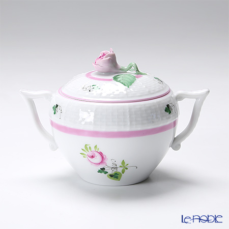 Herend 'Vienna Rose Pink / Vieille Rose de Herend' VRH-X4 00472-0-09 Covered Sugar Pot (Rose knob) 200ml