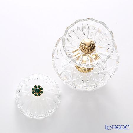Cre Art 'Green Cameo' Gold Decor LZ4239 2 Tier Round Box H15.5cm