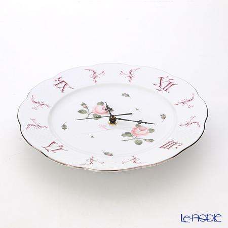ヘレンド ウィーンのバラ プラチナ 00527-0-00ウォールクロック 28cm