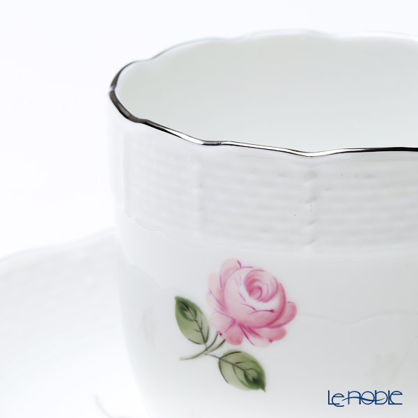 Herend 'Vienna Rose Platinum / Vieille Rose de Herend' VR-PT 00707-0-00 Mocha Coffee Cup & Saucer 150ml