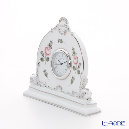 ヘレンド ウィーンのバラ プラチナ 08083-0-00テーブルクロック 12.5cm