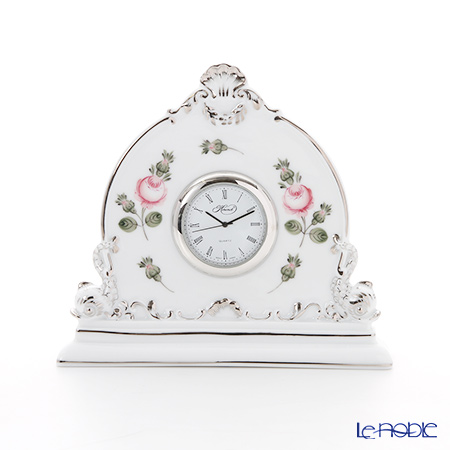 ヘレンド ウィーンのバラ プラチナ 08083-0-00 テーブルクロック 12.5cm