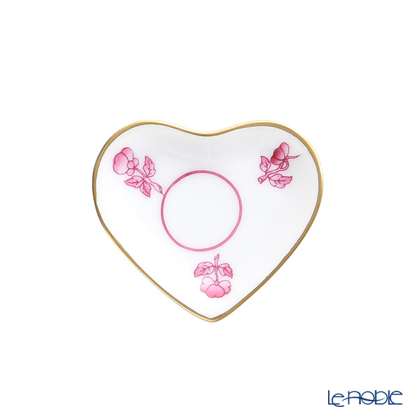 Herend Pink Florets PH-8 07675-0-00 Mini Tray 'Heart' Gold