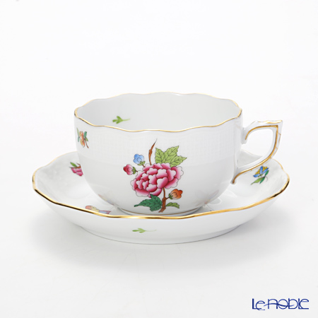 Herend Victoria Tea Cup and Saucer, Flower and Butterfly decor  LVF-1 0724-0-00