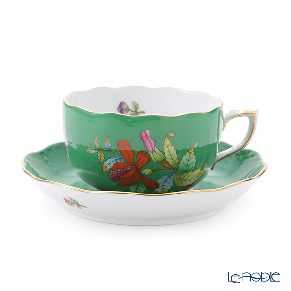 Herend 'Queen Victoria Green / Victoria avec Bord en Or' VE-FV 00724-0-00 Tea Cup & Saucer 200ml