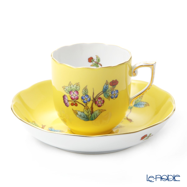 Herend 'Queen Victoria Yellow / Victoria Email' VE-FJ 20707-0-00 Mocha Coffee Cup & Saucer 150ml