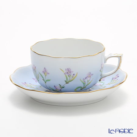 Herend 'Iris Flower' Blue IRIS-B 20724-0-00 Tea Cup & Saucer 200ml