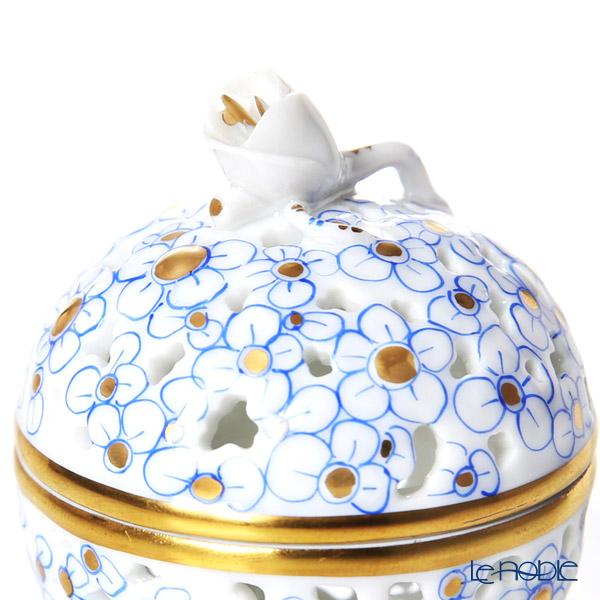 Herend 'Blue Flower' CORB 06219-0-12 Openwork Ball Box (Flower Bud knob)