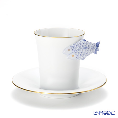 ヘレンド QH-NHFB 04913-0-00 モカカップ&ソーサー(フィッシュ、ブルー)