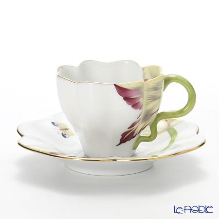 ヘレンド チューリップ TULIP-2 04746-0-00 ティーカップ&ソーサー ワインレッド