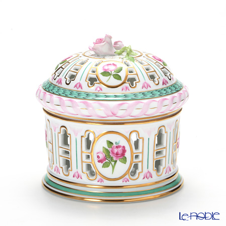 Herend 'Pink Rose' CHLORIS 06206-0-09 Pavilion shape Openwork Box (Rose top) H13cm