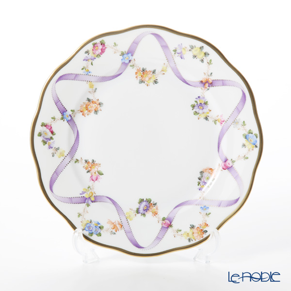 Herend Flower Garland with Ribbon Lilac FLR-X1 20517-0-00 Plate 19cm