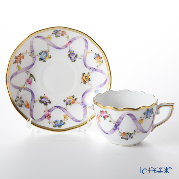 Herend Flower Garland with Ribbon Lilac FLR-X1 00711-0-00 Mocha Cup & Saucer 100ml