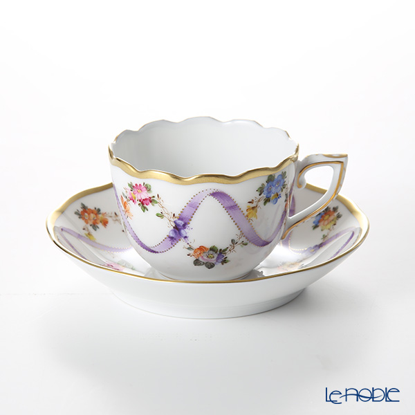 Herend 'Flower Garland with Ribbon' Lilac FLR-X1 00711-0-00 Mocha Coffee Cup & Saucer 100ml