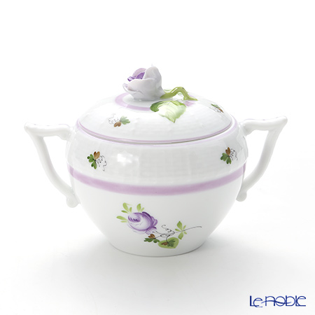 Herend 'Vienna Rose Lilac / Vieille Rose de Herend' VRHL 00472-0-09 Covered Sugar Pot (Rose knob) 200ml