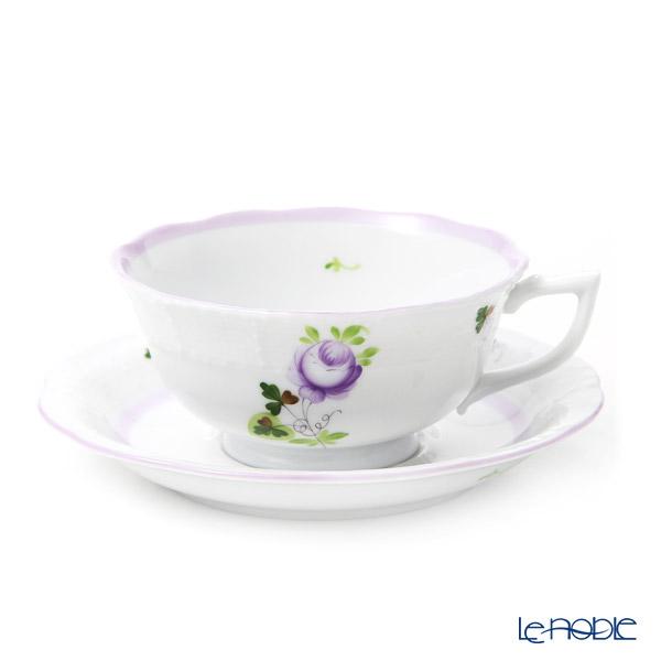 ヘレンド ウィーンのバラ ライラック ティーカップ&ソーサー(ロウ) 00734-0-00
