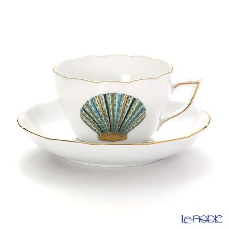 ヘレンド マリンライフ MEVHS2 20730-0-00 ティーカップ&ソーサー(兼用) 200cc シェル/グリーン