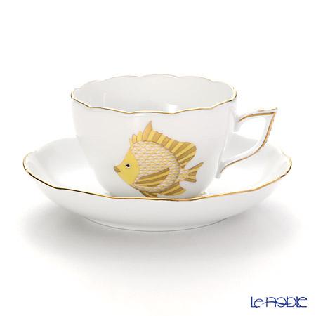 ヘレンド マリンライフ MEVHS6 20730-0-00 ティーカップ&ソーサー(兼用) 200cc フィッシュ/イエロー